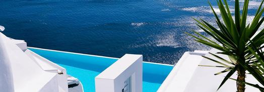 Pool over a cliff at Santorini Katikies